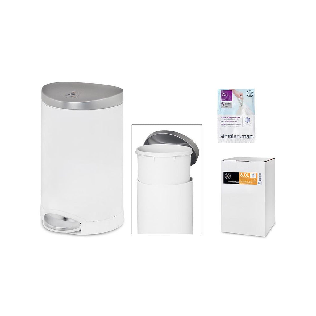 SIMPLEHUMAN Fingerprint Proof Stainless Steel Semi-Round Can With Step 6L