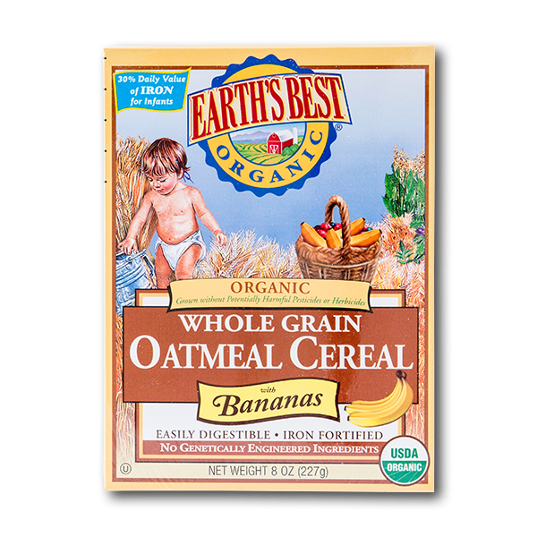 EARTH'S BEST Organic Whole Grain Oatmeal Cereal With Bananas  (227g)