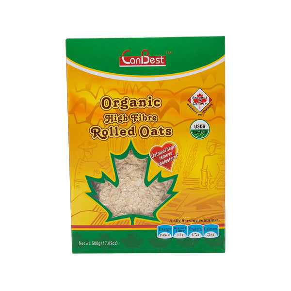 CANBEST Organic High Fibre Rolled Oats  (500g)