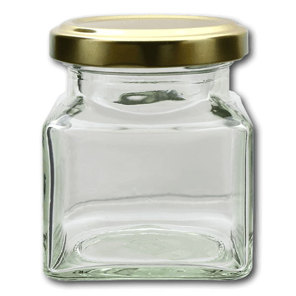 Square Jar With Gold Screw Top Lid