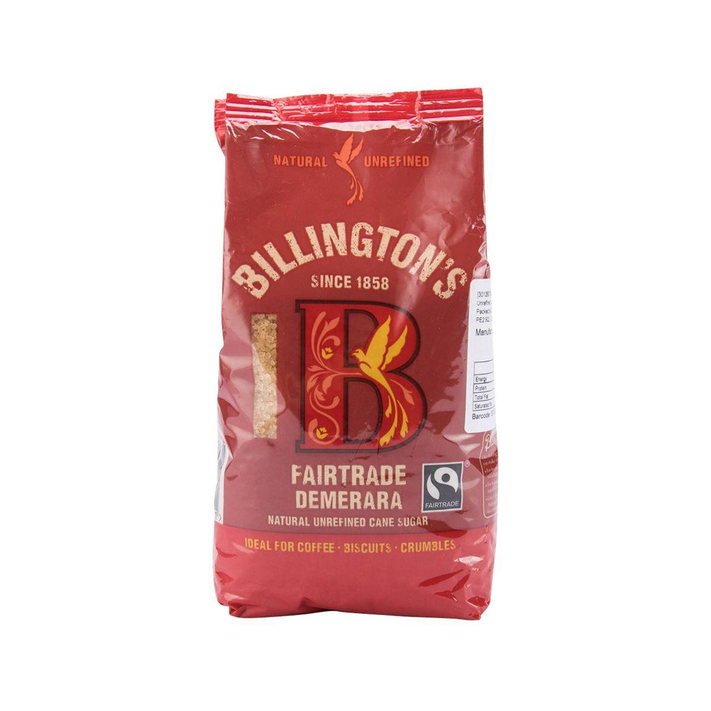 BILLINGTON'S Fairtrade Demerara Natural Unrefined Cane Sugar  (500g)