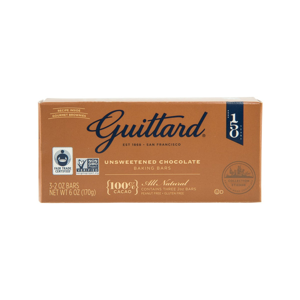 GUITTARD Unsweetened Chocolate Gourmet Baking Bars - 100% Cacao  (170g)