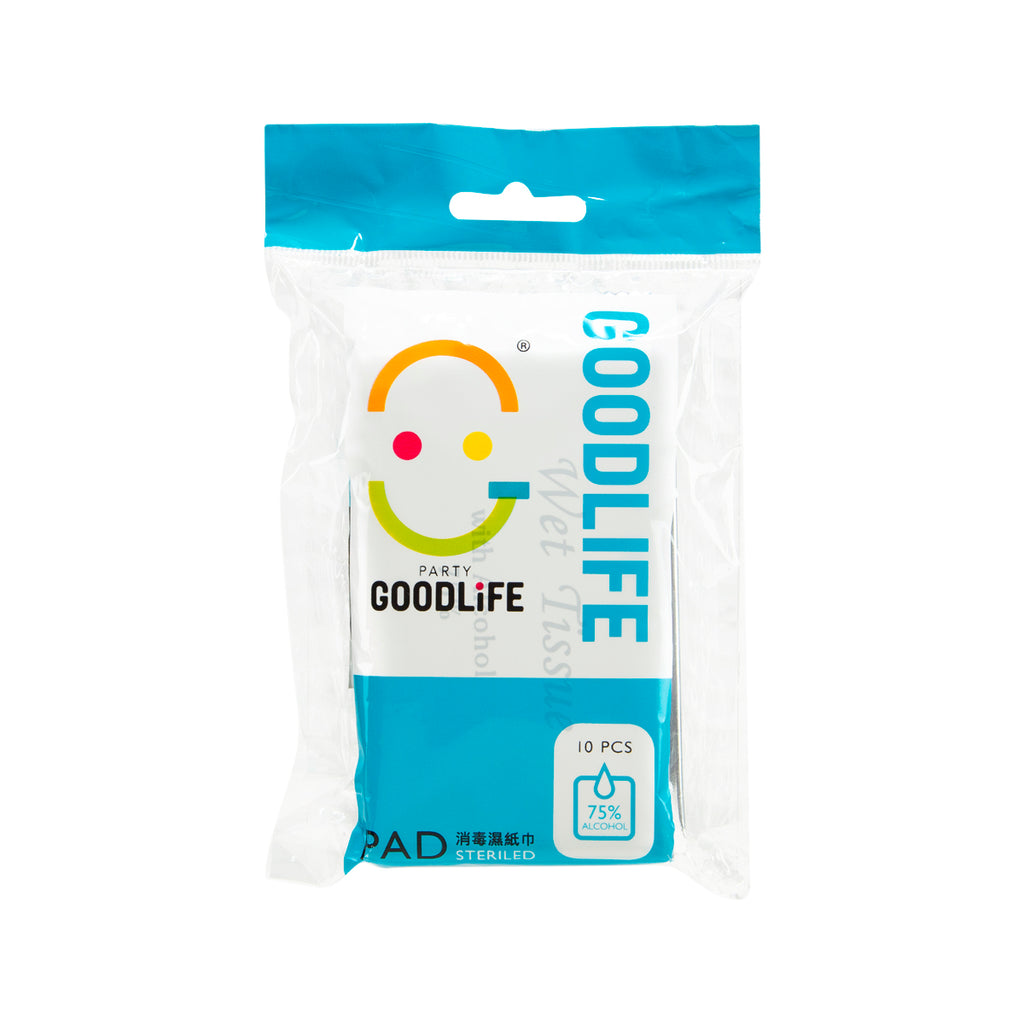 GOODLIFE 75% Foil Wrapped Alcohol Wet Towel 10's