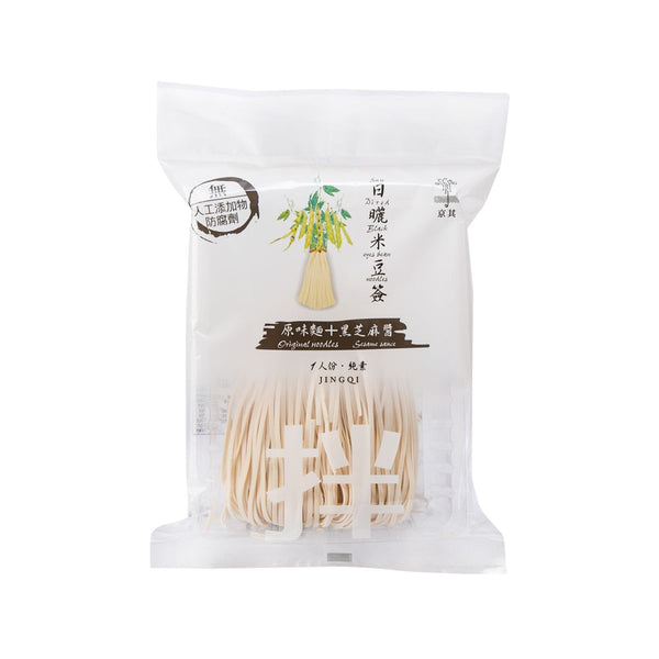 Jingqi Sun Dried Black Eye Bean Noodles - Original Noodle + Black Sesame Sauce(120g)