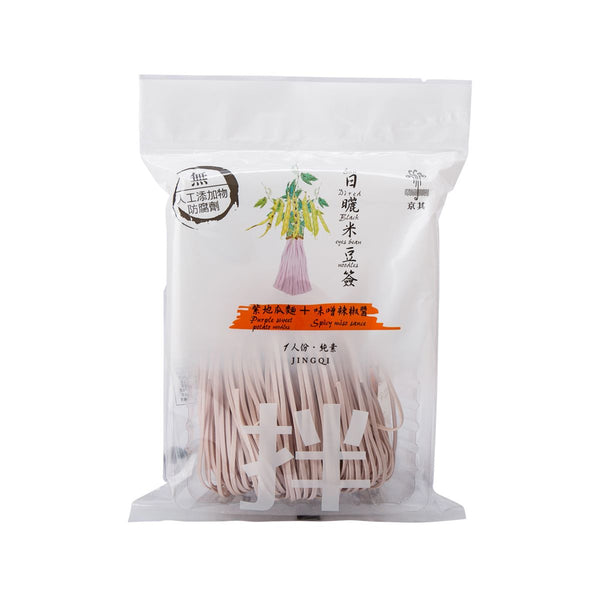 JINGQI Sun Dried Black Eye Bean Noodles - Purple Sweet Potato Noodle + Spicy Miso Sauce  (120g)