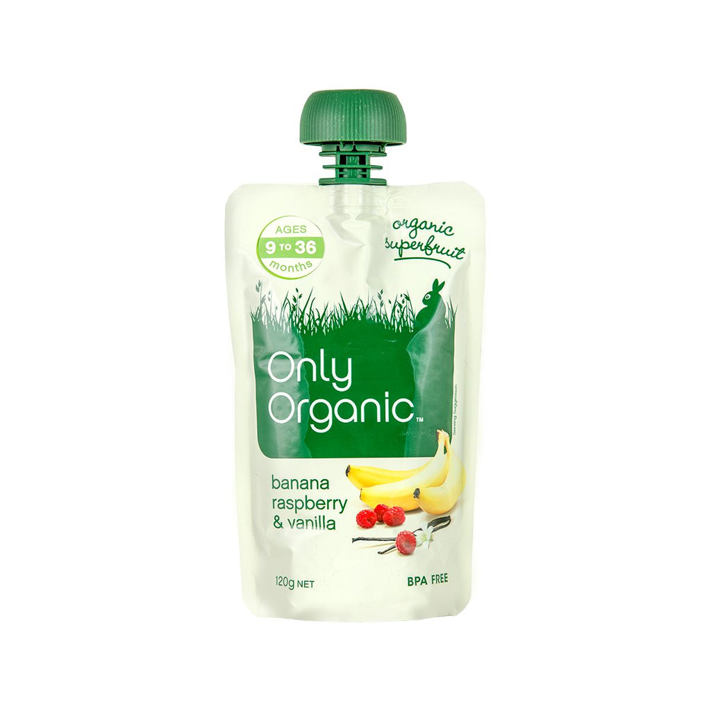 Only Organic Banana, Raspberry & Vanilla  [Ages 9-36 Months](120g)