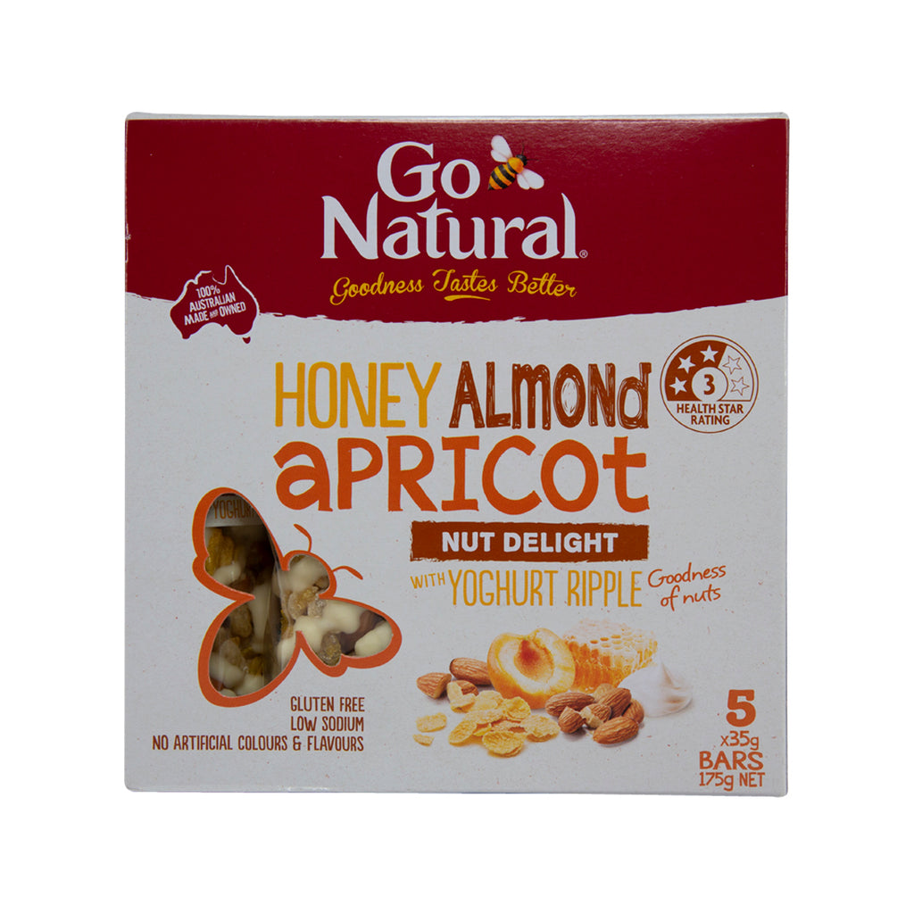 GO NATURAL Honey Almond Apricot With Yoghurt Ripple Bars  (175g)