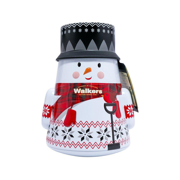 WALKERS Pure Butter Shortbread Festive Mini Stars in Snowman Tin (200g)
