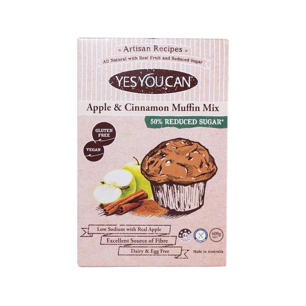 YESYOUCAN Gluten Free & Reduced Sugar Apple & Cinnamon Muffin Mix  (400g)