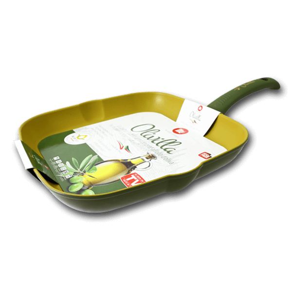 ILLA Grill Pan with Olive Oil Non-Stick Coating 28cm