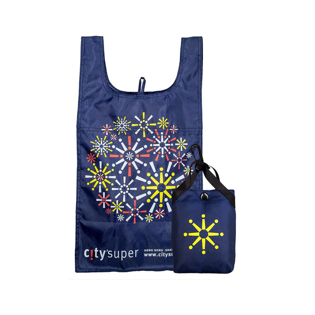 CITYSUPER Firework Pattern Environmental Pocketable Bag-Dark Blue