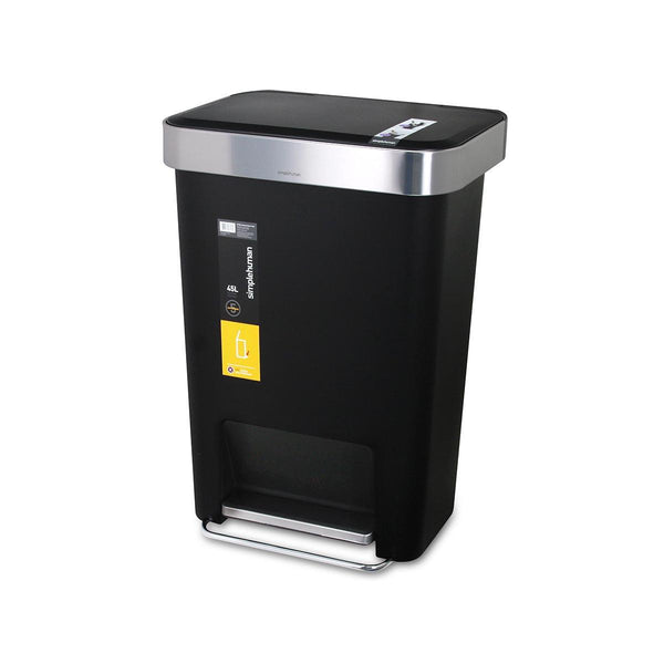 SIMPLEHUMAN 45L Plastic Step Can - Black