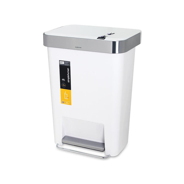 SIMPLEHUMAN 45L Plastic Step Can - White