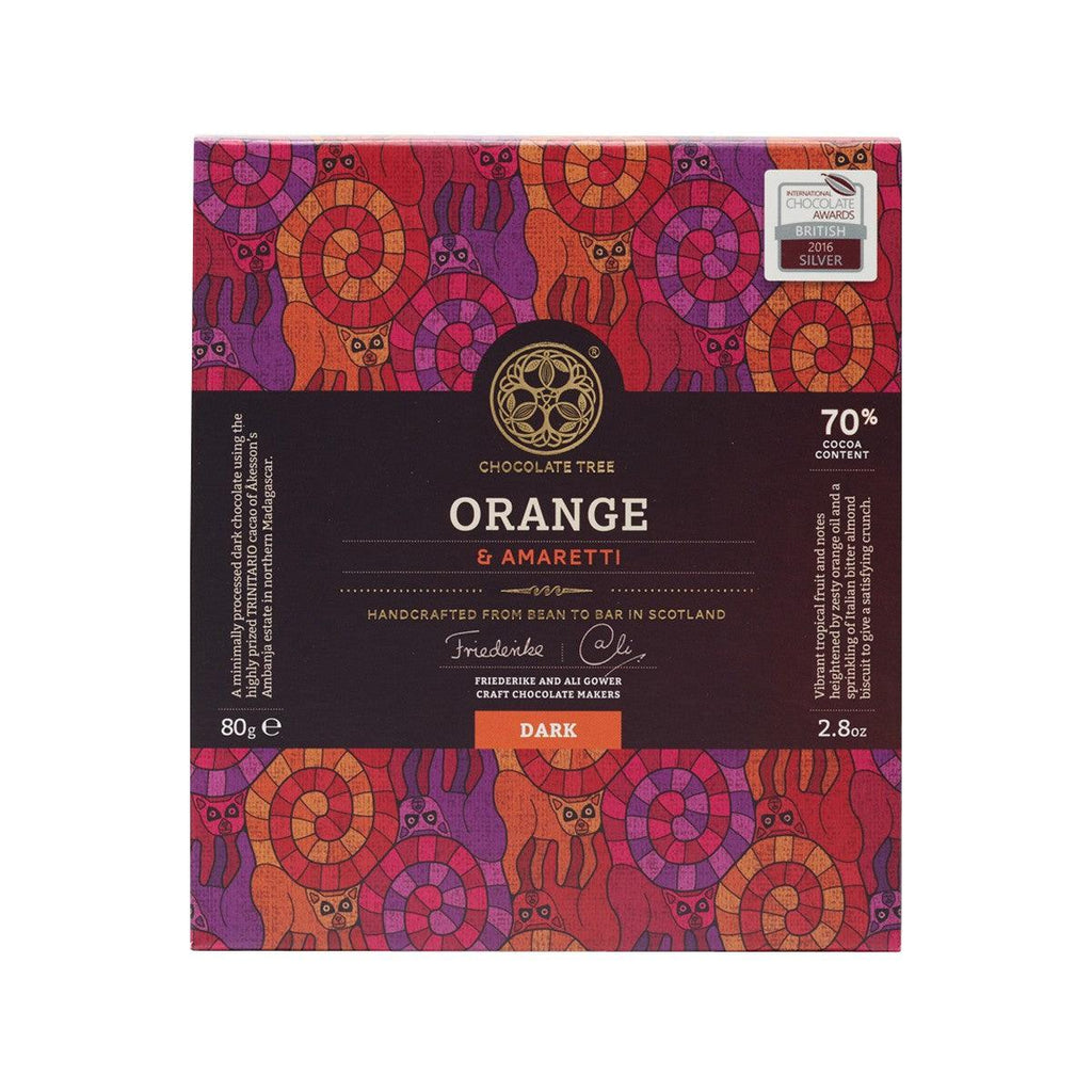 CHOCOLATE TREE 70% Orange & Amaretti Dark Chocolate  (80g)