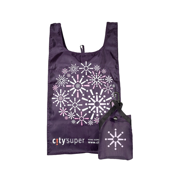 CITYSUPER Firework Pattern Environmental Pocketable Bag-Dark Purple