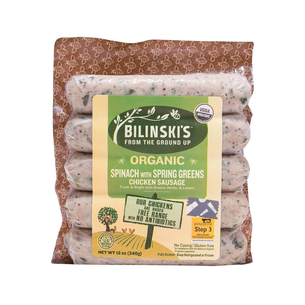 Bilinski'S Organic Spinach With Spring Greens Chicken Sausage(340g)