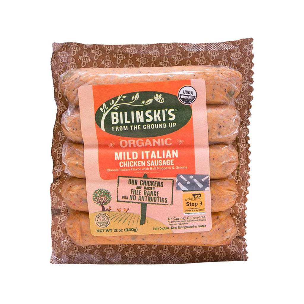BILINSKI'S Organic Mild Italian Chicken Sausage with Bell Peppers  (340g)