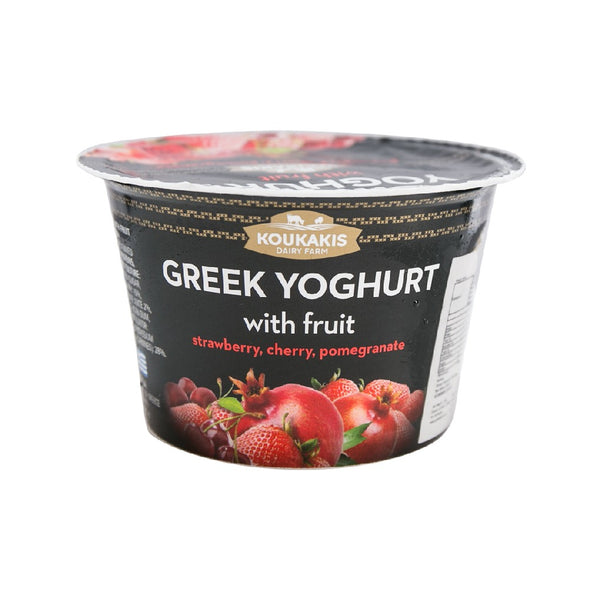 KOUKAKIS Greek Yoghurt with Fruit - Strawberry, Cherry, Pomegranate  (170g)