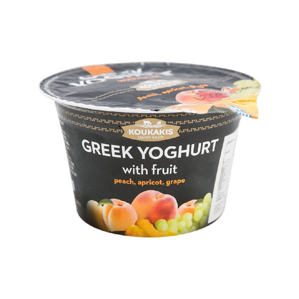 KOUKAKIS Greek Yoghurt with Fruit - Peach, Apricot, Grape  (170g)