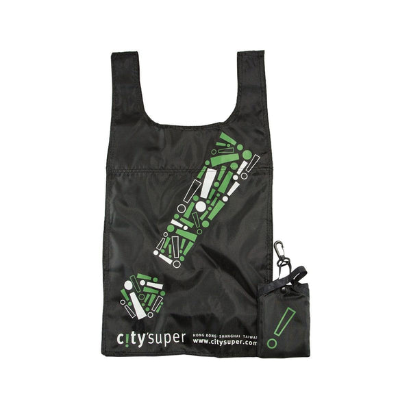 "CITYSUPER ""!"" Graphic Environmental Pocketable Bag-Black"