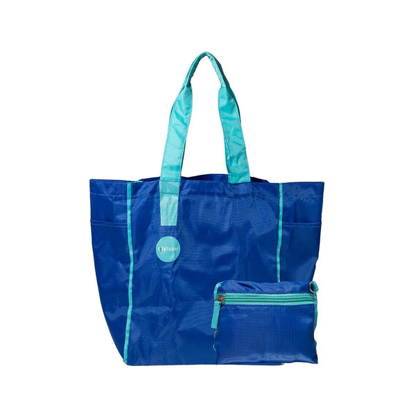 CITYSUPER Ripstop Foldable Environmental Bag-Blue/Turquoise