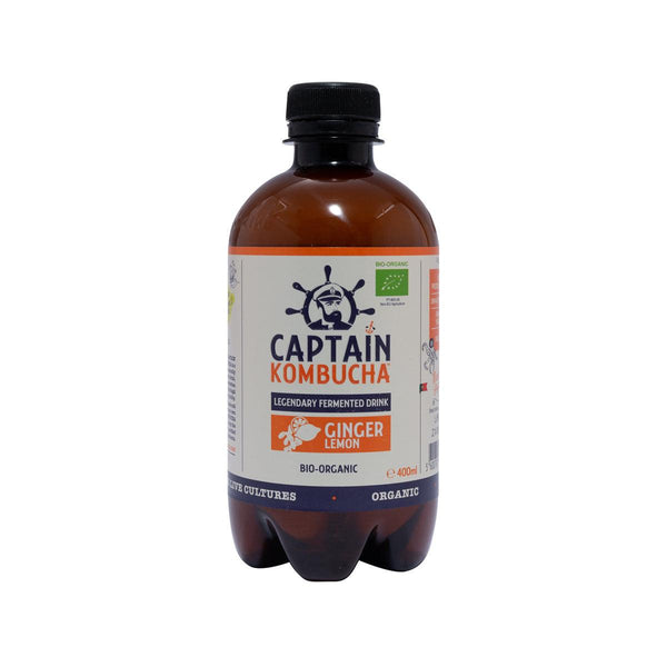 CAPTAIN KOMBUCHA Organic Kombucha Fermented Tea Drink - Ginger Lemon  (400mL)