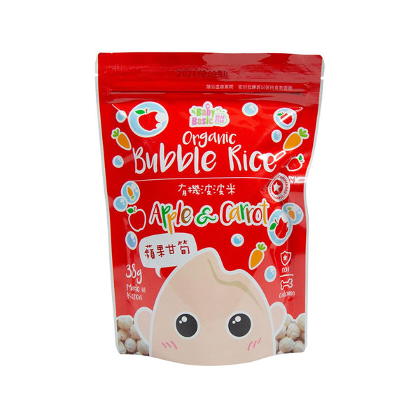BABY BASIC Organic Bubble Rice - Apple & Carrot [Below 36 Months]  (38g)