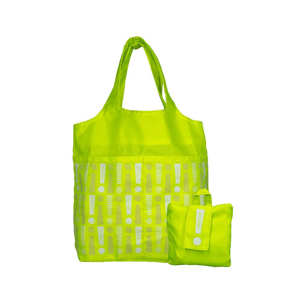 CITYSUPER Foldable Environmental Bag With Printed Pockets (S) - Neon Yellow