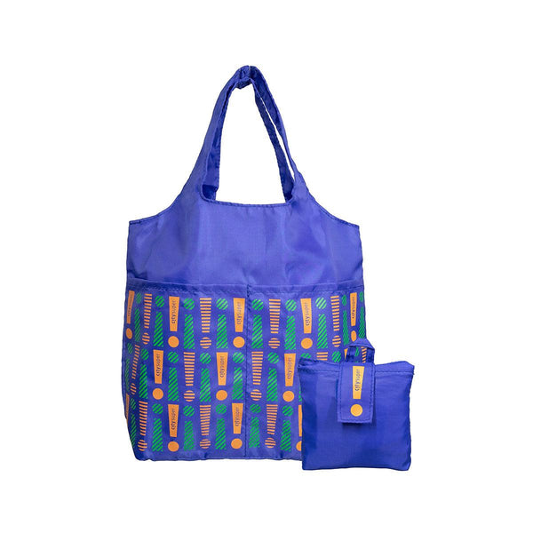 CITYSUPER Foldable Environmental Bag With Printed Pockets (S) - Blue