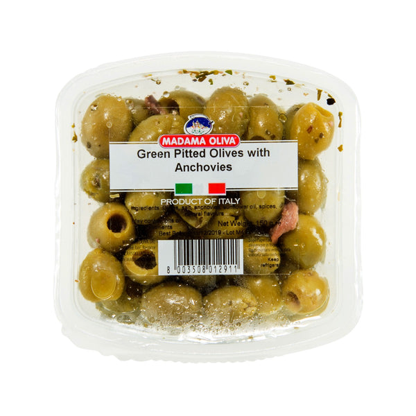 MADAMA OLIVA Green Pitted Olives With Anchovies  (150g)