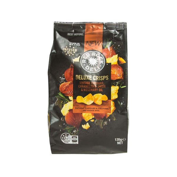 RED ROCK DELI Deluxe Crisps - Vintage Cheddar, Caramelised Onion & Rosemary Oil  (135g)
