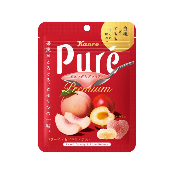 KANRO Pure Juicy Gummy - White Peach & Plum  (63g)