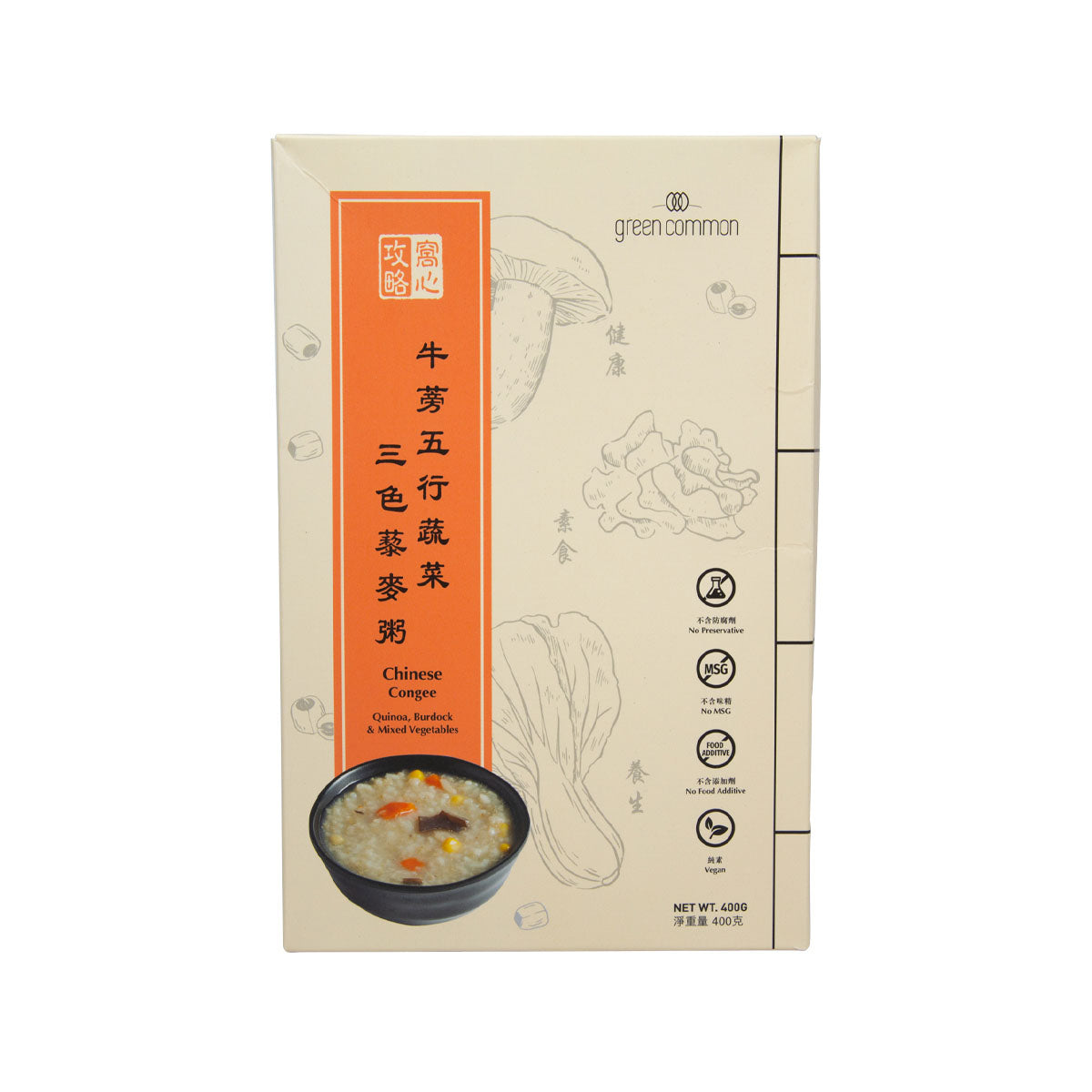 GREEN COMMON Quinoa Congee with Burdock and Mixed Vegetables  (400g)