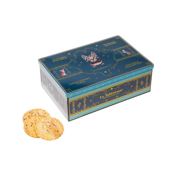 LA SABLESIENNE Baroque Cat Tin, with Fresh Butter Raspberry and Chocolate Chips  (300g)