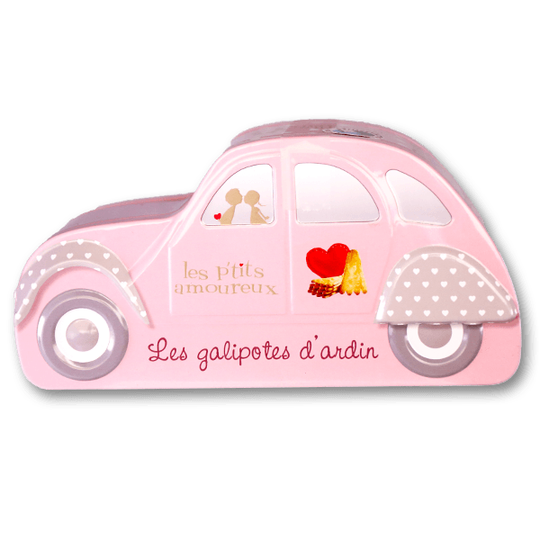 Les P'Tits Amoureux Mini Pure Butter Biscuits - Pink Car Tin(125g)