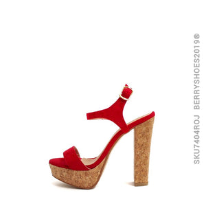 Media plataforma corcho - Berry shoes México - Sandalia Alta - 7404ROJ