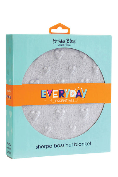 Bubba Blue | Everyday Essentials Sherpa Bassinet Blanket : Grey Hearts