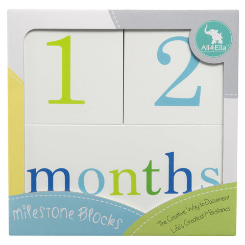 All4Ella | Milestone Blocks : White : Boys