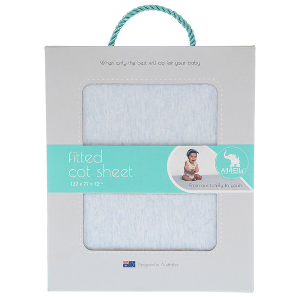 All4Ella | Fitted Cot Sheet : Blue Marle