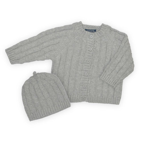 Living Textiles | Cable Knit Cardigan and Beanie : Grey