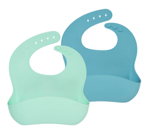 Wean Meister | Easy Rinse Bibs : Classic Mint & Teal : Blue
