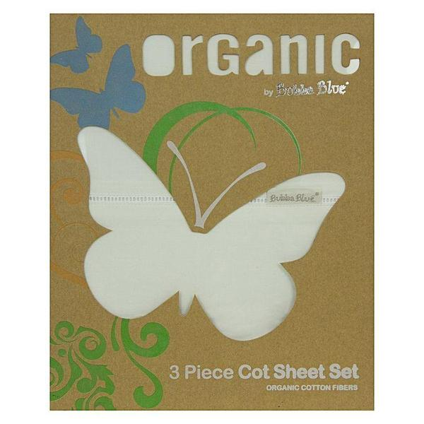 Bubba Blue | Organic Cotton 3 Piece Cot Sheet Set : White