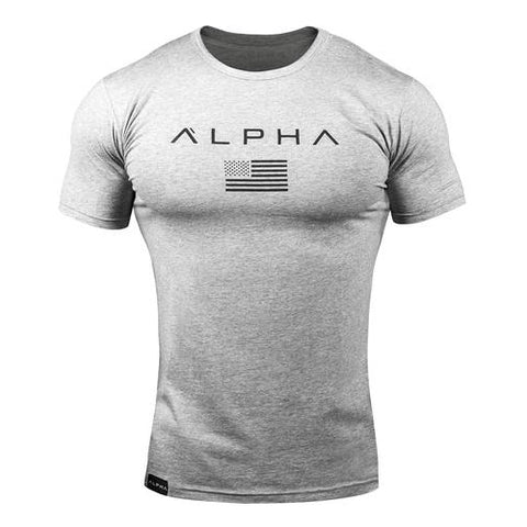 Mens Athletic Fit Alpha USA Flag T-Shirt - Grey