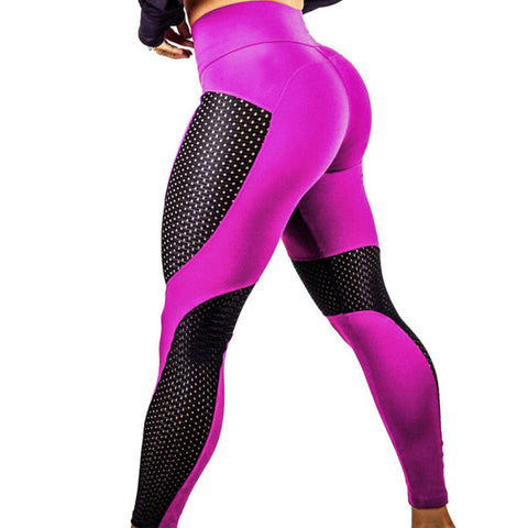 Fitness Fashion Leggings With Mesh - Fuchsia