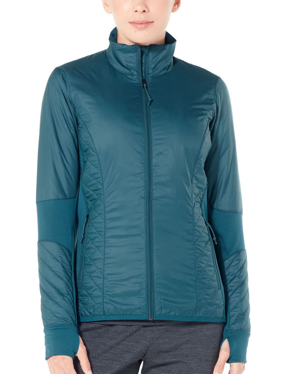 Womens Helix LS Zip - Kingfisher/Jet Heather-Icebreaker-The WoolPress Arrowtown