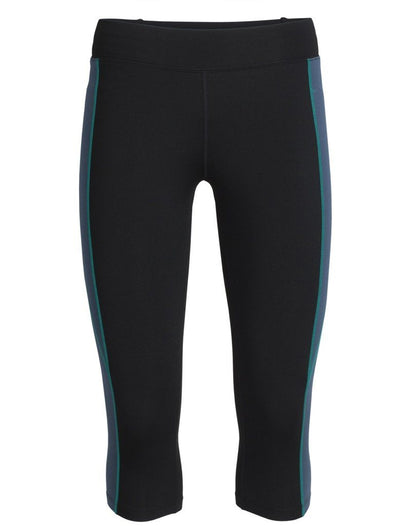 Womens Comet 3Q Tights - Black/Harmony-Icebreaker-The WoolPress Arrowtown