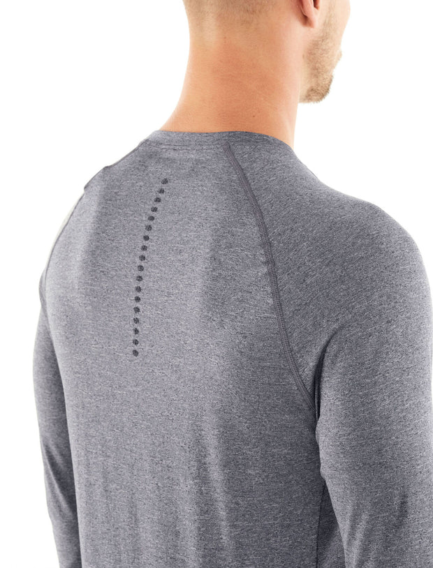 Mens Motion Seamless LS Crewe - Mineral Heather