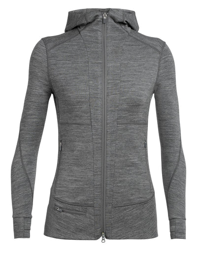 Womens Quantum LS Zip Hood - Gritstone Heather
