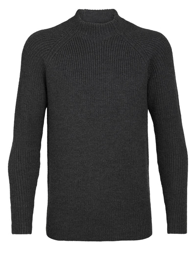 Mens Hillock Funnel Neck Sweater - Peat Heather