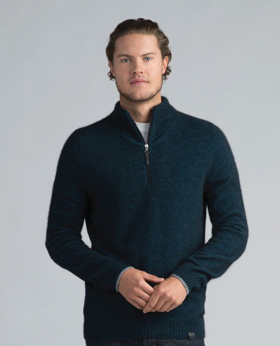 Mens Half Zip with Stripes-Merinomink-The WoolPress Arrowtown